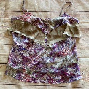 Witchery Floral Coral color Silk Tank - 12